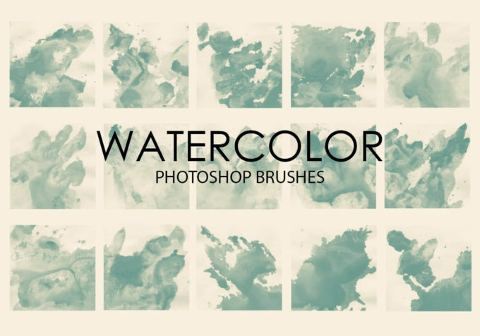 フォトショップ ブラシ Photoshop Brush 無料 イラスト 水彩 インク ペンキ 絵具 Free Watercolor Wash Photoshop Brushes 5