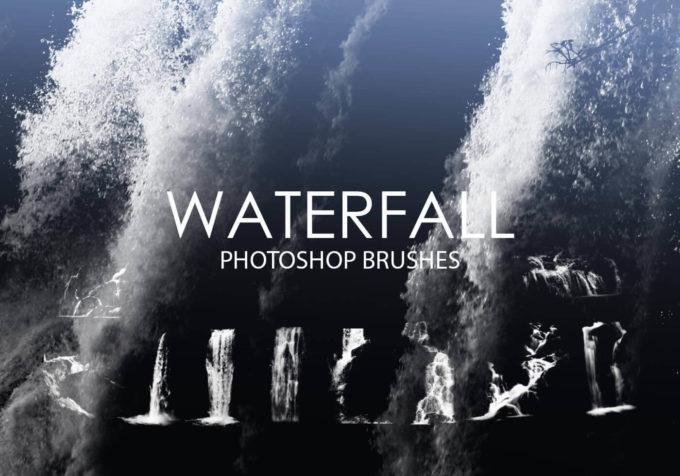 フォトショップ ブラシ Photoshop Brush 無料 イラスト 水 ウォーター 水滴 スプラッシュ 水しぶき 滝 Free Waterfall Photoshop Brushes