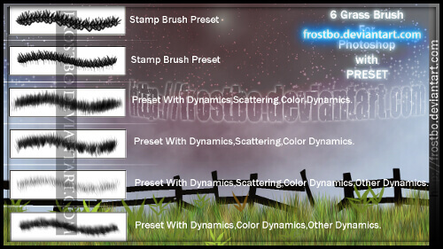 フォトショップ ブラシ Photoshop Brush 無料 イラスト 草 雑草 植物 プランツ Grass Brush Photoshop SET 1