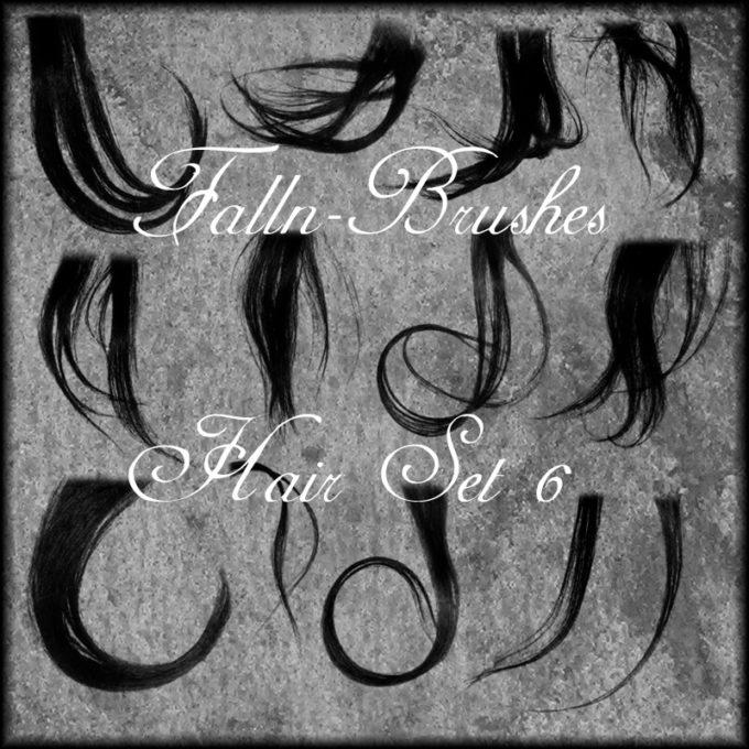 フォトショップ ブラシ 無料 毛 髪の毛 Hair Brushes Set 6