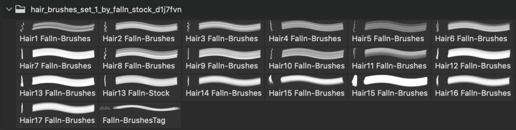 フォトショップ ブラシ 無料 毛 髪の毛 Hair Brushes Set 1
