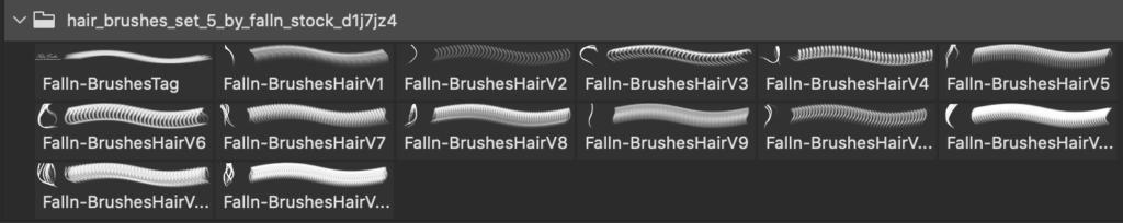 フォトショップ ブラシ 無料 毛 髪の毛 Hair Brushes Set 5