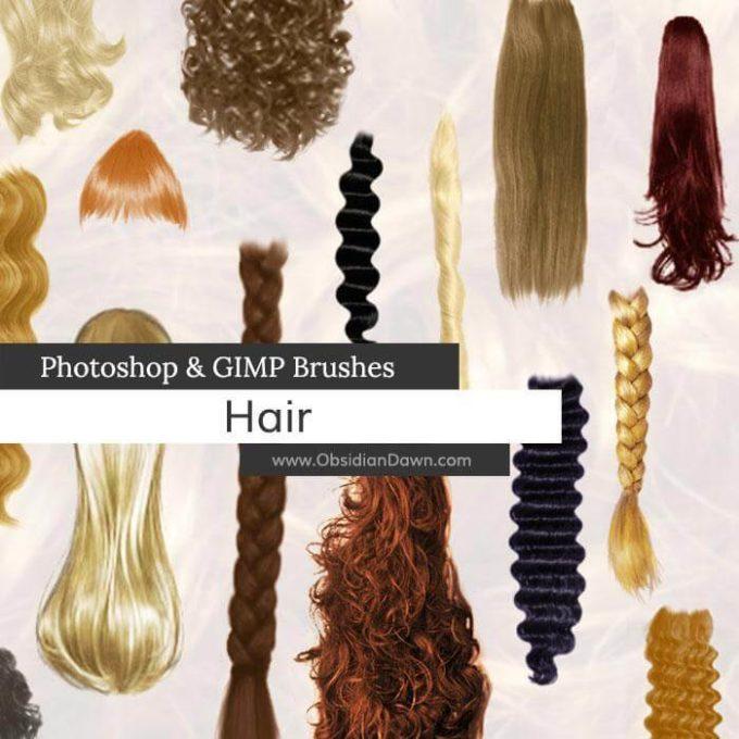 フォトショップ ブラシ 無料 毛 髪の毛 Hair Photoshop and GIMP Brushes