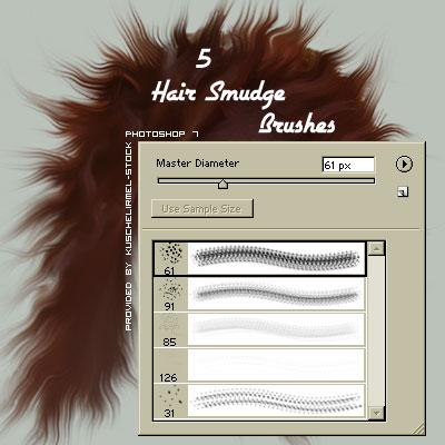 フォトショップ ブラシ テクスチャ キャンパス Photoshop Brush 無料 イラスト 毛 髪の毛 Hair Smudge Brushes