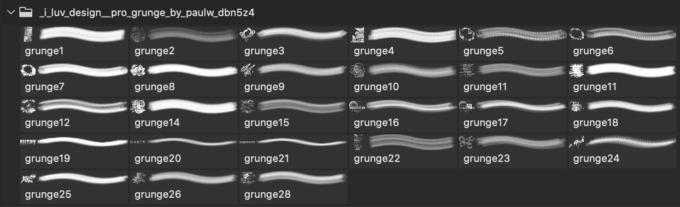 フォトショップ ブラシ Photoshop Retro Vintage Brush 無料 イラスト ヴィンテージ レトロ 'I LUV DESIGN' Pro Grunge