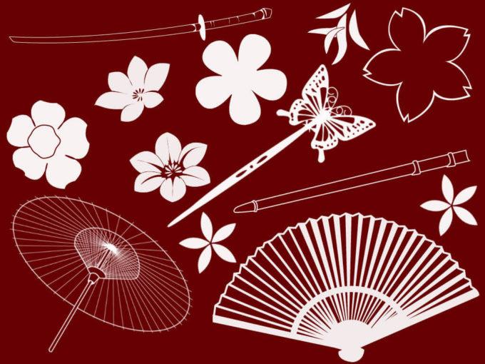フォトショップ ブラシ Photoshop Japanese Brush 無料 イラスト 和 和風 和柄 芸者 Japanese Elements