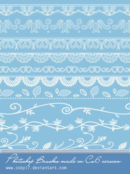 フォトショップ ブラシ Photoshop Lace Brush 無料 イラスト レース Lace and Floral dividers Photoshop Brushes.