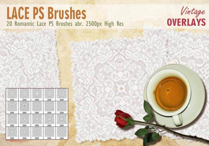 フォトショップ ブラシ Photoshop Lace Brush 無料 イラスト レース 20 Lace Tile PS Brushes Abr.