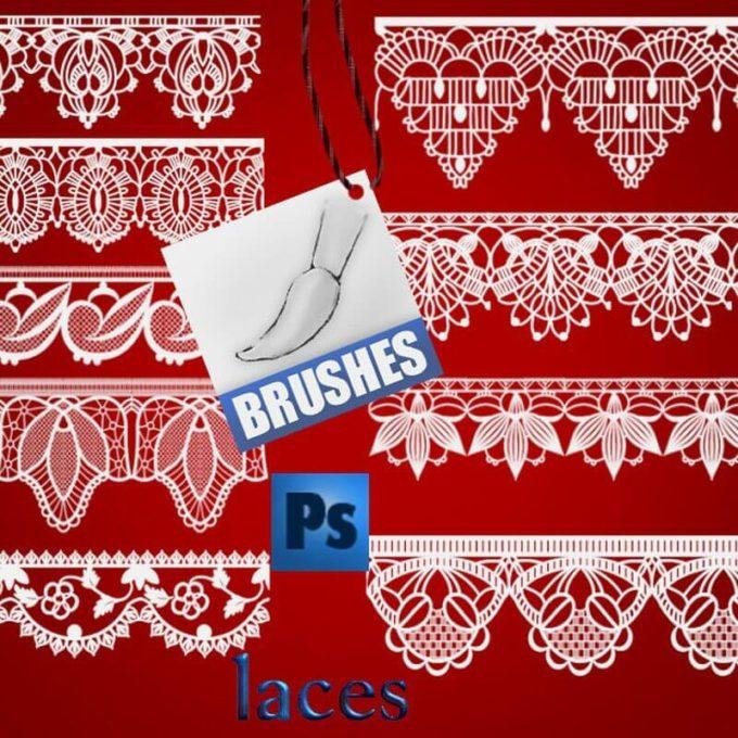 フォトショップ ブラシ Photoshop Lace Brush 無料 イラスト レース Lace Brushes