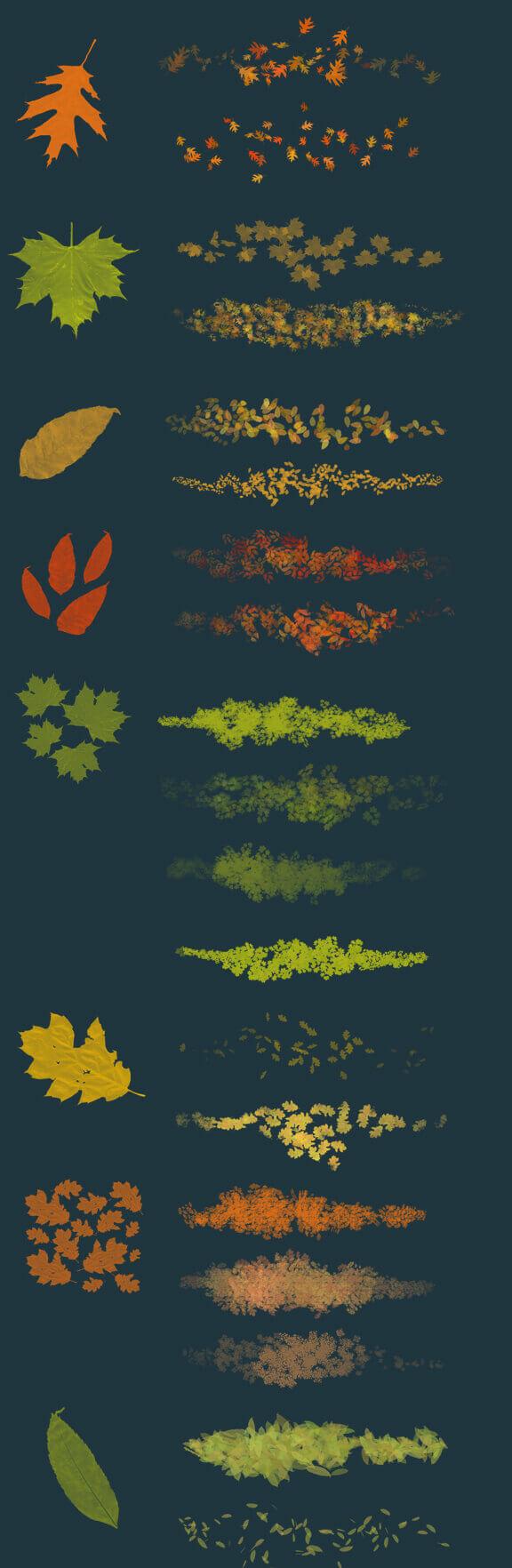 フォトショップ ブラシ Photoshop Brush 無料 イラスト 草 雑草 植物 葉 プランツ Leaves - photoshop brushes