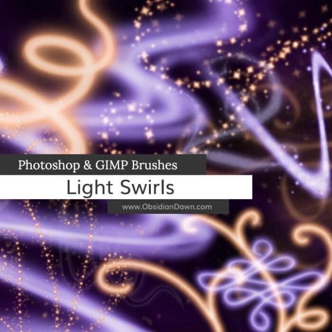 フォトショップ ブラシ Photoshop Brush 無料 イラスト 光 ビーム グリッター Light Swirls Photoshop and GIMP Brushes