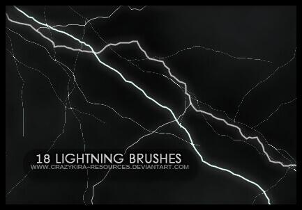 フォトショップ ブラシ Photoshop Brush 無料 Flower イラスト 雷 ライトニング 落雷 Lightning Brushes