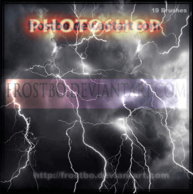 フォトショップ ブラシ Photoshop Brush 無料 Flower イラスト 雷 ライトニング 落雷 Lightning Brushes Photoshop