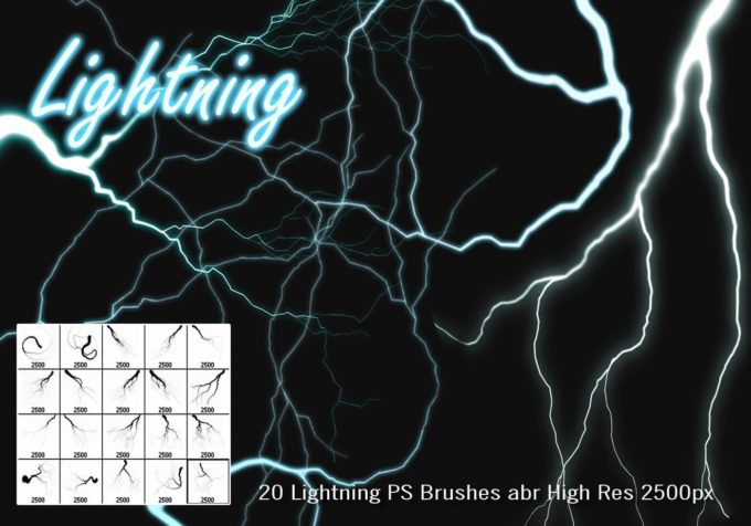 フォトショップ ブラシ Photoshop Brush 無料 Flower イラスト 雷 ライトニング 落雷 Lightning PS Brushes