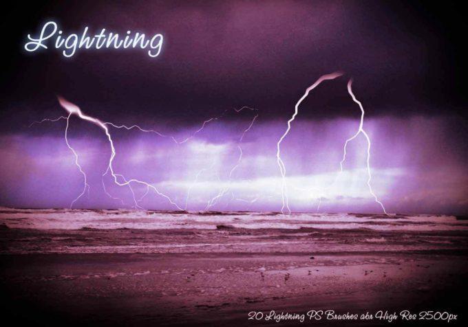 フォトショップ ブラシ Photoshop Brush 無料 Flower イラスト 雷 ライトニング 落雷 Lightning PS Brushes Abr