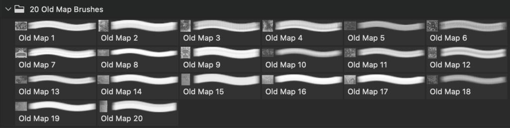 フォトショップ ブラシ Photoshop Vintage  Retro Brush 無料 イラスト ビンテージ レトロ マップ 地図 Old Map PS Brushes