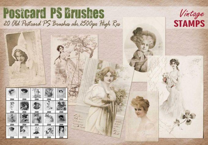 フォトショップ ブラシ Photoshop Vintage  Retro Brush 無料 イラスト ビンテージ レトロ ポストカード Old Postcard PS Brushes Abr.