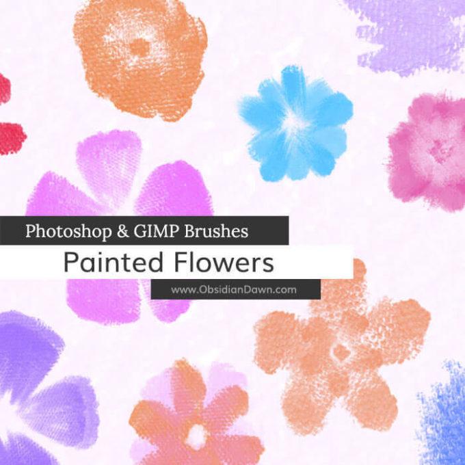 フォトショップ ブラシ Photoshop Brush 無料 Flower イラスト 花 フラワー Painted Flowers Photoshop and GIMP Brushes