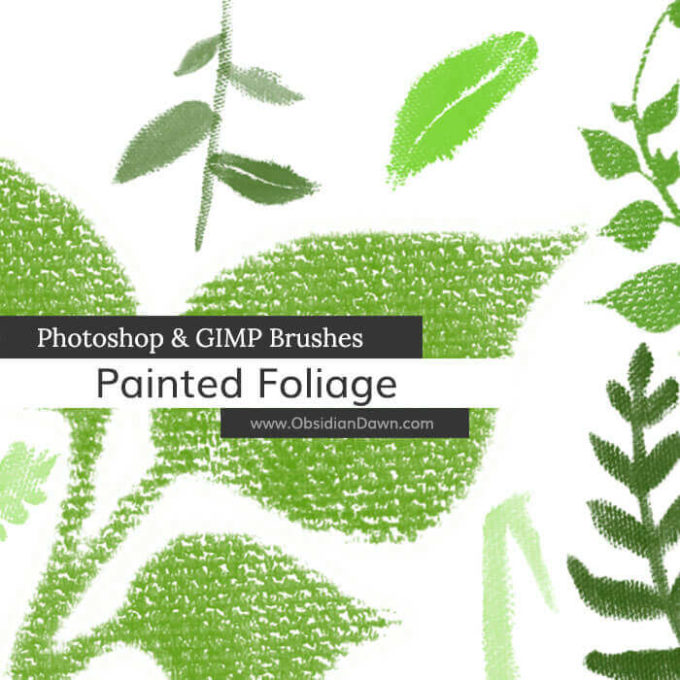 フォトショップ ブラシ Photoshop Brush 無料 イラスト 草 雑草 植物 葉 プランツ Painted Foliage Photoshop and GIMP Brushes