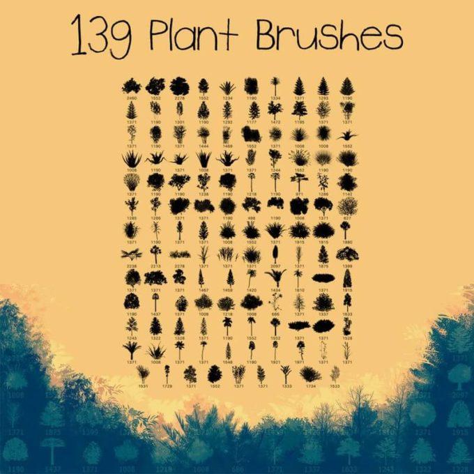 フォトショップ ブラシ Photoshop Brush 無料 イラスト 木 森 林 植物 草木 139 Plant Brushes
