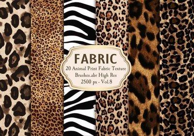 フォトショップ ブラシ Photoshop Brush 無料 Flower イラスト アニマル 柄 模様 動物 20 Animal Print Fabric Brushes.Abr Vol.8