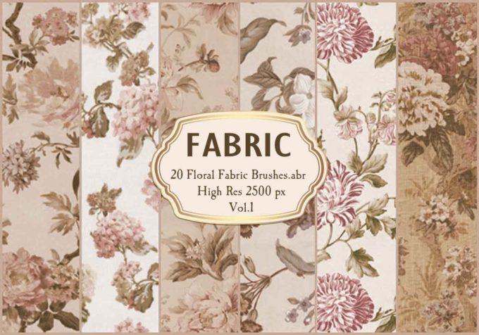 フォトショップ ブラシ Photoshop Brush 無料 Flower イラスト 花 フラワー フローラル 20 Floral Fabric Brushes.Abr Vol.1