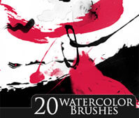 フォトショップ ブラシ Photoshop Brush 無料 イラスト 水彩 インク ペンキ 絵具 20 watercolor Brushes