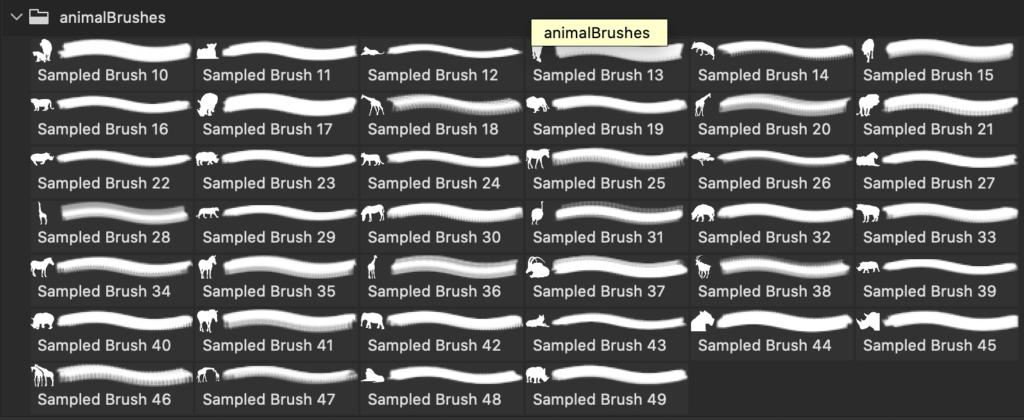 フォトショップ ブラシ Photoshop Animal Brush 無料 イラスト 動物 アニマル シルエット40 Animal Brushes