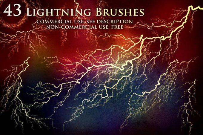 フォトショップ ブラシ Photoshop Brush 無料 Flower イラスト 雷 ライトニング 落雷 43 Lightning and Electricity Brushes