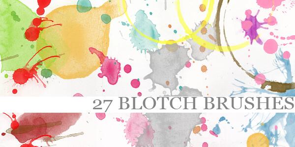 フォトショップ ブラシ Photoshop Brush 無料 イラスト 水彩 インク ペンキ Blotch Brushes
