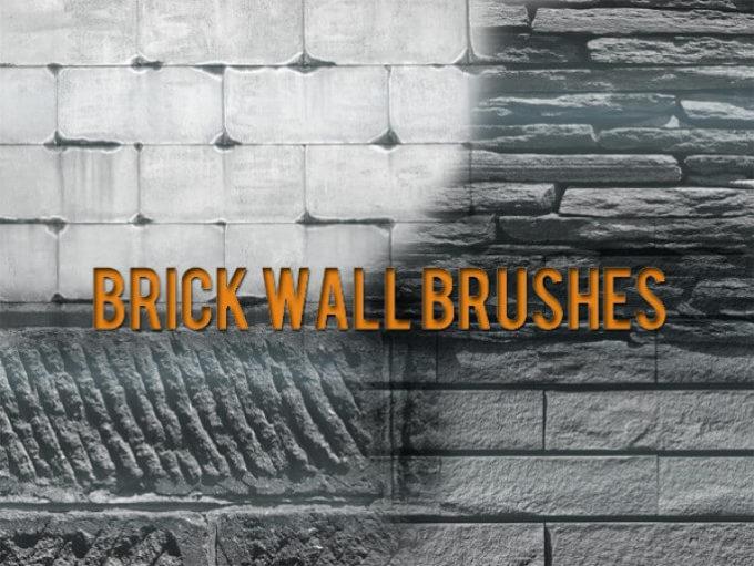 フォトショップ ブラシ Photoshop Brush 無料 イラスト ロック 岩 石 ストーン Brick Wall Free Brushes