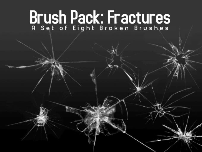 フォトショップ ブラシ Photoshop Brush 無料 イラスト クラック ひび割れ ヒビ 亀裂 ガラス Broken Glass Brushes - Eight