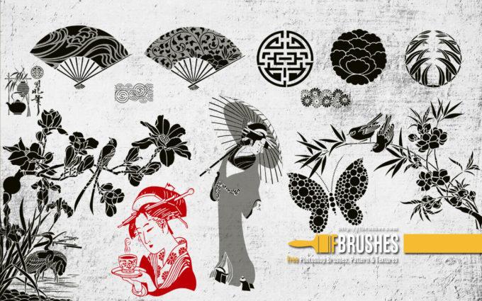 フォトショップ ブラシ Photoshop Japanese Brush 無料 イラスト 猫 キャット 和 和風 和柄 Japanese garden v2