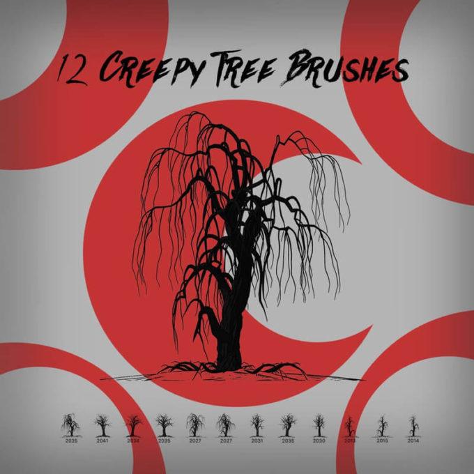 フォトショップ ブラシ Photoshop Brush 無料 イラスト 木 森 林 ハロウィーン 12 Creepy Tree Brushes