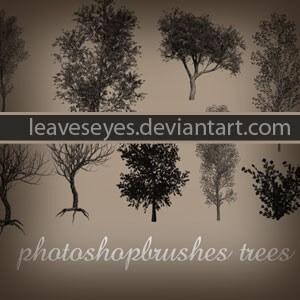 フォトショップ ブラシ Photoshop Brush 無料 イラスト 木 森 林 草木 Photoshop Brushes Trees