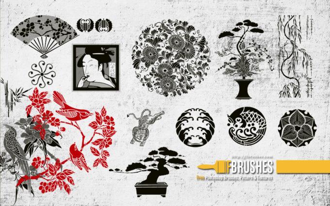 フォトショップ ブラシ Photoshop Japanese Brush 無料 イラスト 猫 キャット 和 和風 和柄 Japanese garden v1