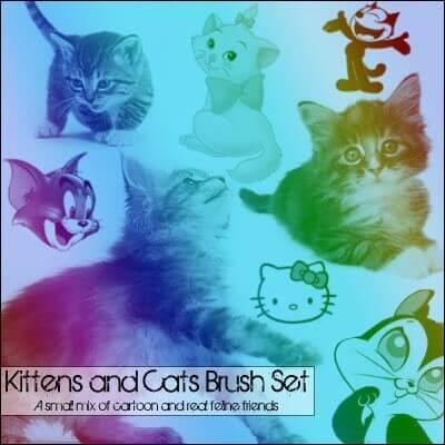 フォトショップ ブラシ Photoshop cat Kittie Brush 無料 イラスト 猫 キャット Cats and Kitties