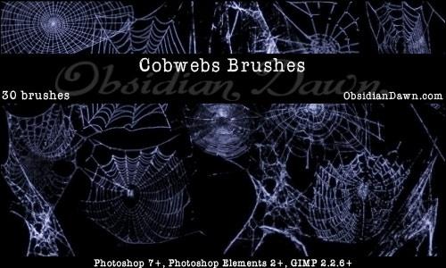 フォトショップ ブラシ Photoshop Brush 無料 クモ クモの巣 蜘蛛 スパイダー Cobwebs Brushes