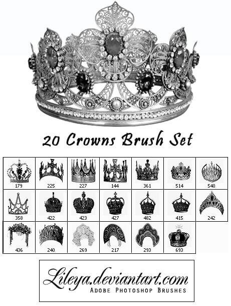 フォトショップ ブラシ Photoshop Crown Brush 無料 イラスト クラウン 冠 王冠 Crowns Brush set
