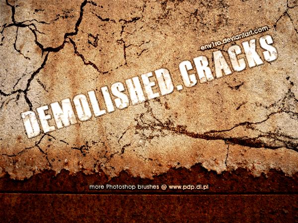 フォトショップ ブラシ Photoshop Brush 無料 イラスト クラック ひび割れ ヒビ 亀裂 壁 Demolished.Cracks
