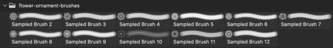 フォトショップ ブラシ Photoshop Brush 無料 Flower イラスト 花 フラワー Spring Flower Ornament Brushes