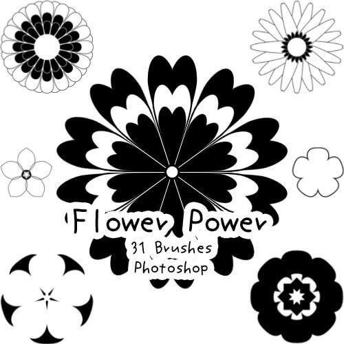フォトショップ ブラシ Photoshop Brush 無料 Flower イラスト 花 フラワー Flower Power Brushes