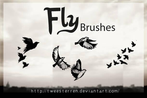 フォトショップ ブラシ Photoshop Bird Brush 無料 イラスト Flying By