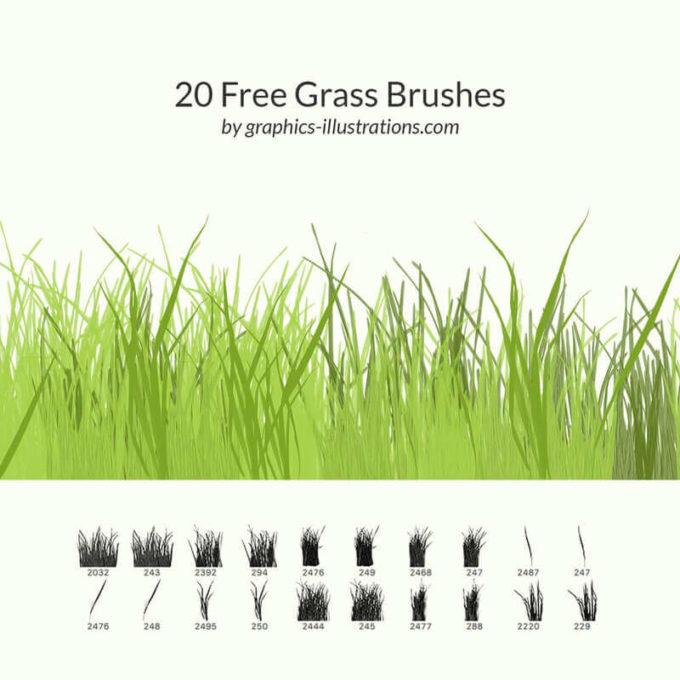フォトショップ ブラシ Photoshop Brush 無料 イラスト 草 雑草 植物 葉 プランツ 20 Free Grass Brushes