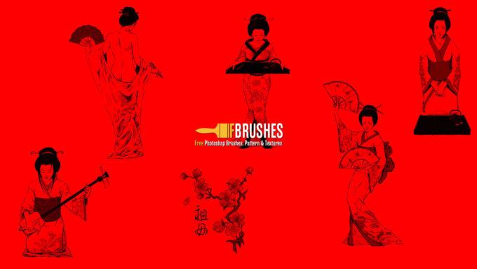 フォトショップ ブラシ Photoshop Japanese Brush 無料 イラスト 和 和風 和柄 芸者 Geisha