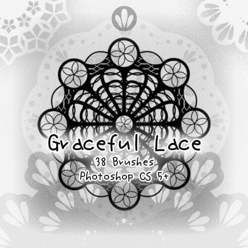 フォトショップ ブラシ Photoshop Lace Brush 無料 イラスト レース Graceful Lace