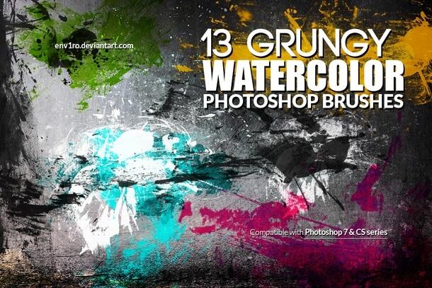 フォトショップ ブラシ Photoshop Brush 無料 イラスト 水彩 インク ペンキ Grungy Watercolor Brushes