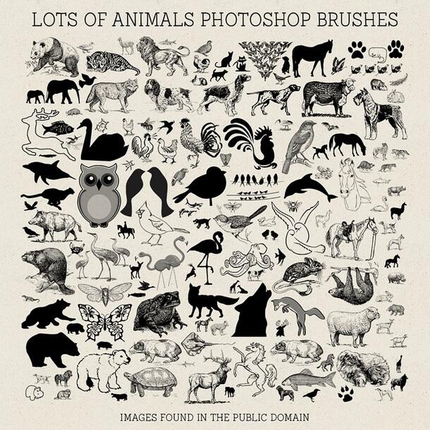 フォトショップ ブラシ Photoshop Animal Brush 無料 イラスト 動物 アニマル Lots of Animals