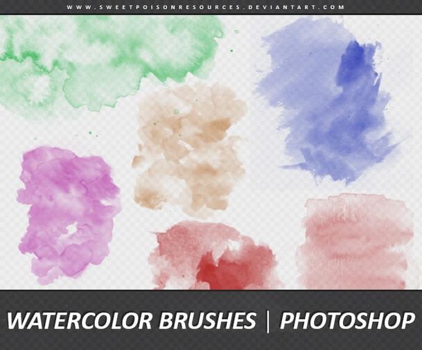 フォトショップ ブラシ Photoshop Brush 無料 イラスト 水彩 インク ペンキ Hq-Watercolor-Brushes