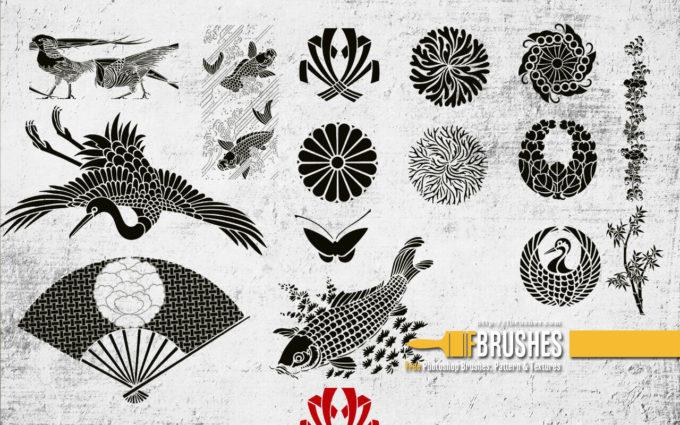 フォトショップ ブラシ Photoshop Japanese Brush 無料 イラスト 和 和風 和柄 Japanese garden v3